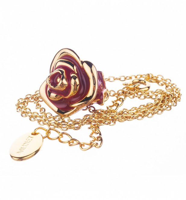 14Kt Gold Plated Beauty And The Beast Rose Charm And Necklace from Disney Couture