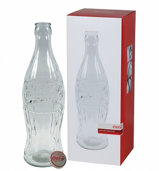 "GIANT 20"" Glass Coca-Cola Bottle Money Bank with Metal Cap"