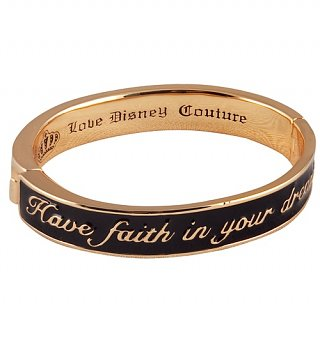 Gold Plated Black Enamel Have Faith In Your Dreams Cinderella Bangle from Disney Couture