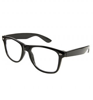 Black Clear Geek Wayfarer Glasses