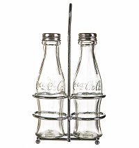 Coca-Cola Glass Salt & Pepper Set with Chrome Holder