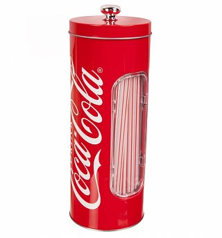 Coca-Cola Tin Straw Dispenser