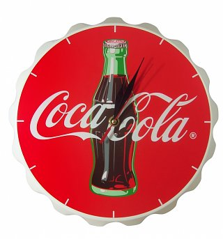 Coca-Cola Wooden Contour Bottle Crown Clock