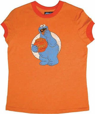 Sesame St Cookie Monster Orange Women's T Shirt from Junk Food