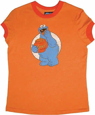 Sesame St Cookie Monster Orange Women s T Shirt. from Junk Food f30fa8e8e
