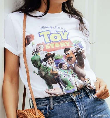 Women's Disney Toy Story Gang White Boyfriend Fit Rolled Sleeve T-Shirt