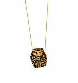 Gold Plated And Black Enamel Mufasa Lion King Necklace from Disney Couture