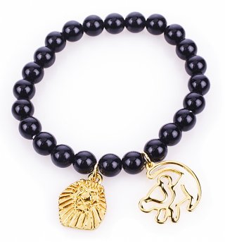 Gold Plated Black Bead Simba Outline Lion King Bracelet from Disney Couture