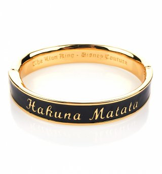 Gold Plated Black Enamel Hakuna Matata Lion King Bangle from Disney Couture