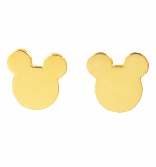 Gold Plated Mickey Mouse Silhouette Stud Earrings from Disney Couture