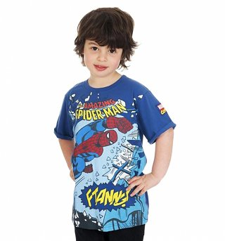 Kids Blue Amazing Spider-Man Smash T-Shirt from Fabric Flavours