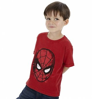 Kids Washed Red Spider-Man Mask T-Shirt from Fabric Flavours