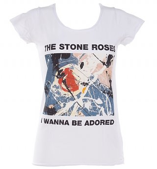 Women's White Stone Roses Wanna Be Adored T-Shirt from Amplified