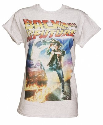 Women's Back to the Future Movie Poster Rolled Sleeve Boyfriend T-Shirt