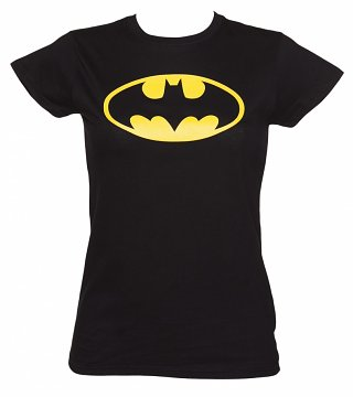 Women's Black Batman Logo DC Comics T-Shirt