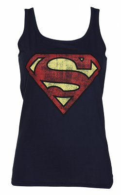 Women's Navy Blue Distressed Superman Logo Vest