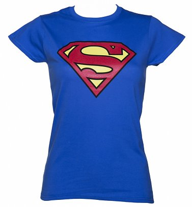 Superman Logo Damen T-Shirt, Blau