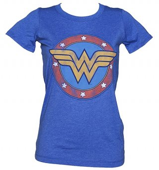 LIMITED EDITION Women's Blue Vintage Distressed Wonder Woman Logo T-Shirt from Junk Food
