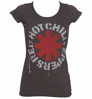 Women's Charcoal Dripping Red Hot Chili Peppers T-Shirt from Amplified