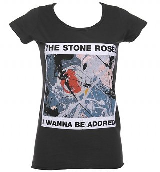 Women's Stone Roses Wanna Be Adored Charcoal T-Shirt from Amplified