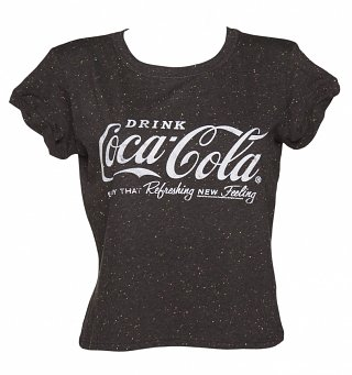 Women's Coca-Cola Logo Speckled Rolled Sleeve T-Shirt