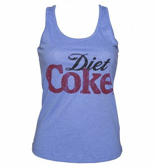 Women's Light Blue Marl Diet Coke Logo Racerback Vest