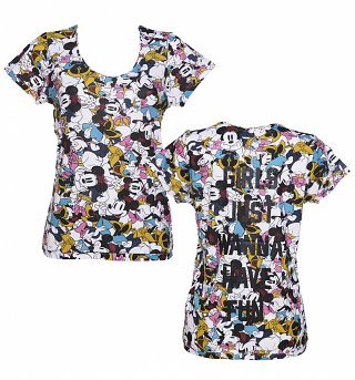 Women's Girls Just Wanna Have Fun Minnie Mouse And Daisy Duck All Over Print Disney T-Shirt from Eleven Paris
