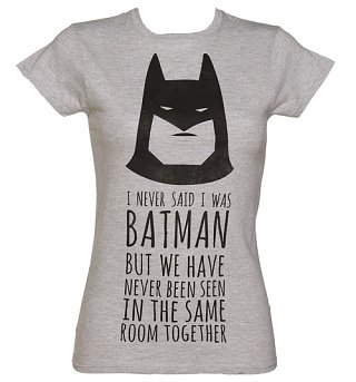Women's Grey Marl DC Comics Batman Slogan T-Shirt