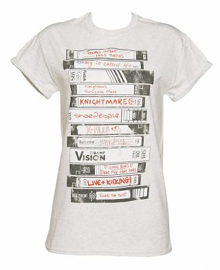Women's Old School Video Tapes Collection Rolled Sleeve Boyfriend T-Shirt