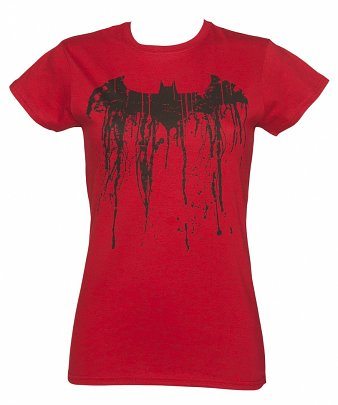 Women's Red Batman Graffiti Logo Fitted T-Shirt