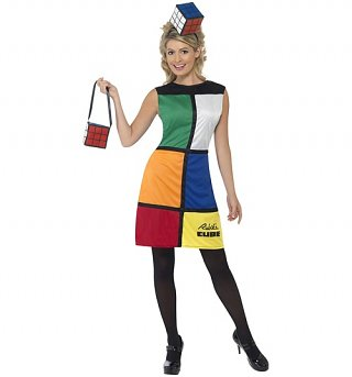 Women's Rubik's Cube Fancy Dress With Headband