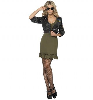 Women's Top Gun Dress and Jacket Fancy Dress Costume