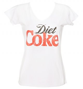 Women's White Diet Coke V-Neck Logo T-Shirt