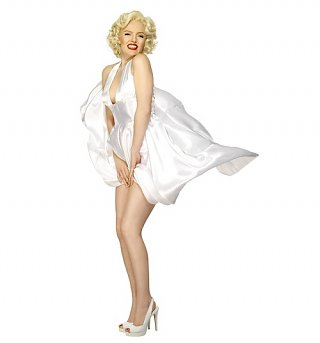 Women's White Marilyn Halterneck Dress Fancy Dress Costume