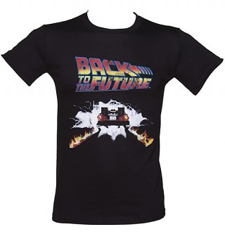 Men's Back To The Future Delorean Firetracks T-Shirt