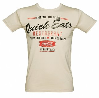 Men's Beige Quick Eats Coca-Cola T-Shirt