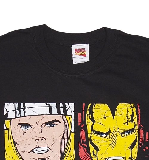Men's Black Distressed Marvel Avengers Characters T-Shirt