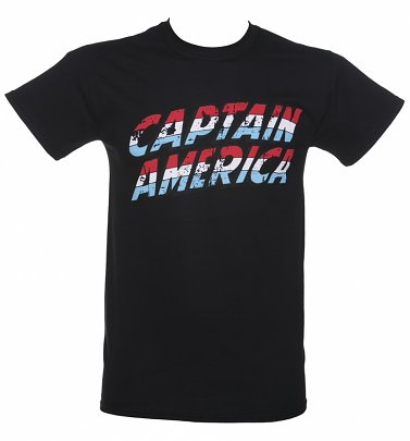 Men's Black Marvel Captain America Logo T-Shirt