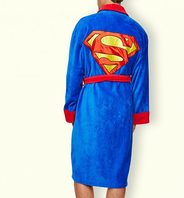 Men's Blue Fleece Superman Logo Dressing Gown
