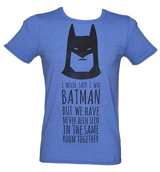 Men's Blue Marl DC Comics Batman Slogan T-Shirt