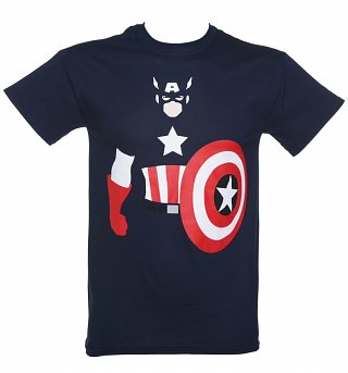 Men's Blue Marvel Captain America Vector T-Shirt