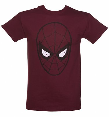 Men's Burgundy Amazing Spider-Man Mask T-Shirt