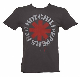 Men's Charcoal Dripping Red Hot Chili Peppers T-Shirt from Amplified