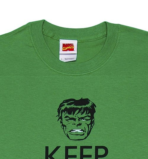 Men's Green Keep Calm Don't Make Me Angry Incredible Hulk T-Shirt