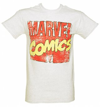 Men's Grey Marl Marvel Comics Logo T-Shirt