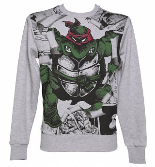 Men's Grey Marl Teenage Mutant Ninja Turtles Raphael Burst Sweater