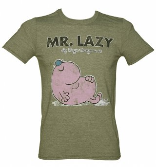 Men's Khaki Mr Lazy Mr Men T-Shirt