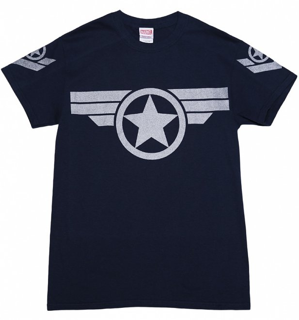 Men's Navy Metallic Silver Print Steve Rogers Super Soldier Captain America Uniform Marvel T-Shirt