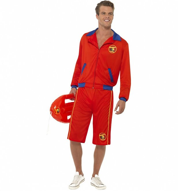 Men's Red Baywatch Jacket And Shorts Fancy Dress Costume