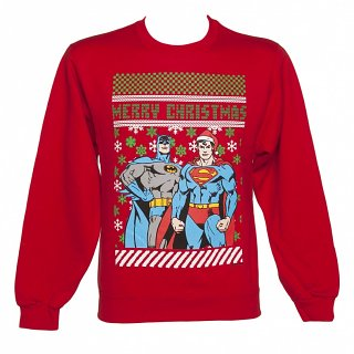 Men's Red DC Comics Batman And Superman Christmas Jumper